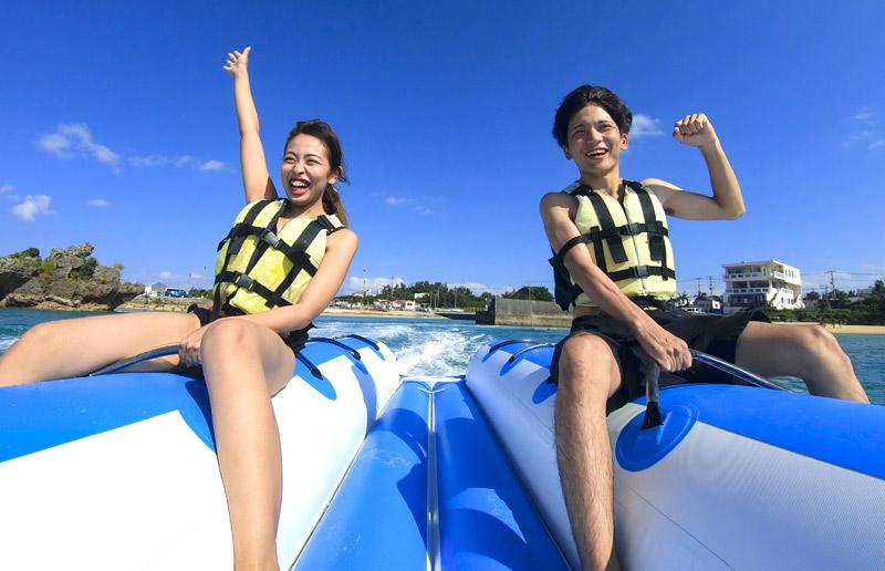 人気セットプラン!青の洞窟シュノーケル&バナナボート